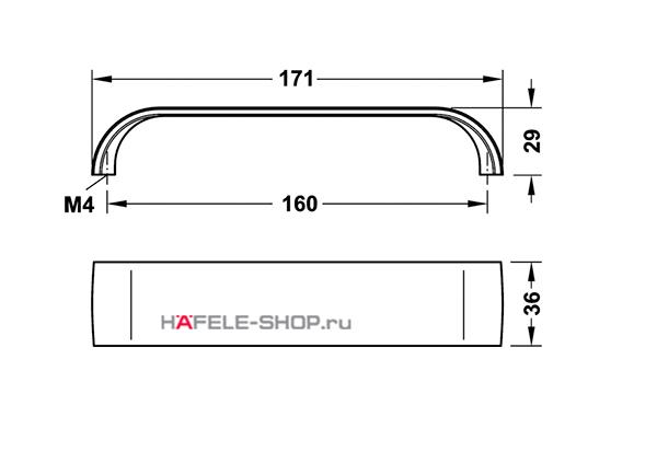 Мебельная ручка, цвет нержавеющая сталь состаренная, длина 171 мм.