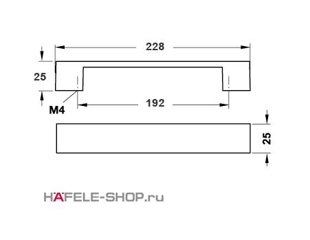 Мебельная ручка цвет никель сатиновый  228x25 мм