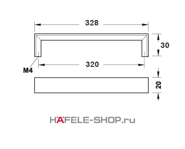 Мебельная ручка цвет хром полированный  328x30 мм
