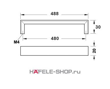 Мебельная ручка цвет хром матовый  488x30 мм