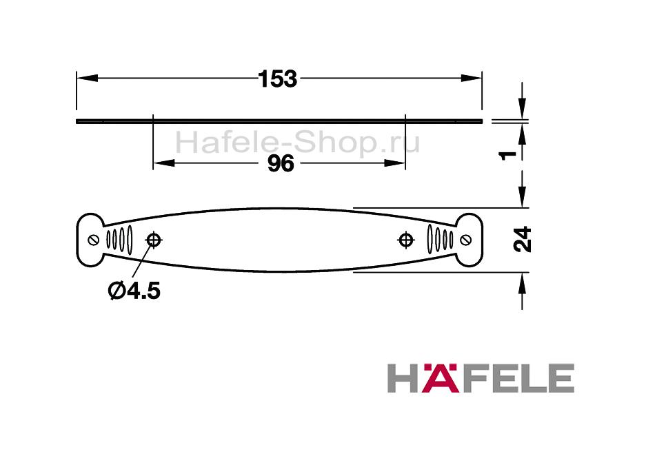Основание мебельной ручки, латунь, цвет оцинкованный антик,  153 х 24 мм