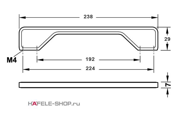 Мебельная ручка цвет нержавеющая сталь  238x29 мм