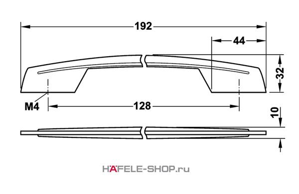 Мебельная ручка цвет хром полированный  192x32 мм