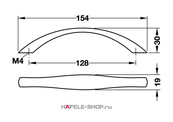 Мебельная ручка цвет хром матовый  154x30 мм