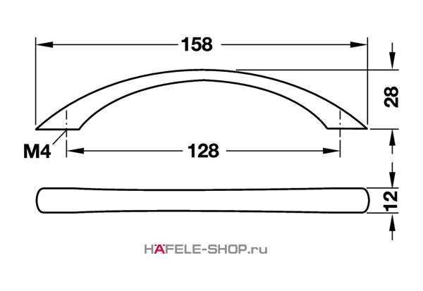 Мебельная ручка цвет хром полированный 158x28 мм