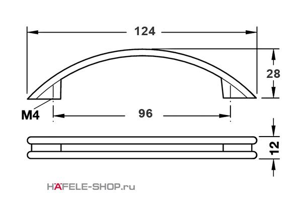 Мебельная ручка цвет хром матовый 124x28 мм