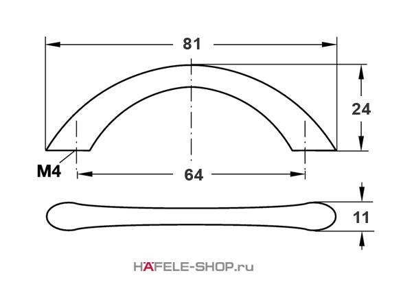 Мебельная ручка цвет хром полированный  81x24 мм
