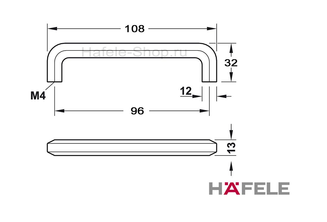 Ручка мебельная, цвет черная ошкуренная, длина 108 мм, между винтами 96 мм