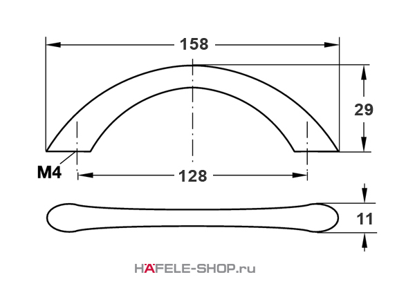 Мебельная ручка цвет хром матовый  158x29 мм