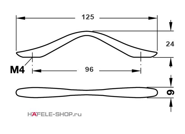 Мебельная ручка цвет хром матовый  125x24 мм