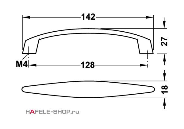 Мебельная ручка цвет никель матовый 142x27 мм