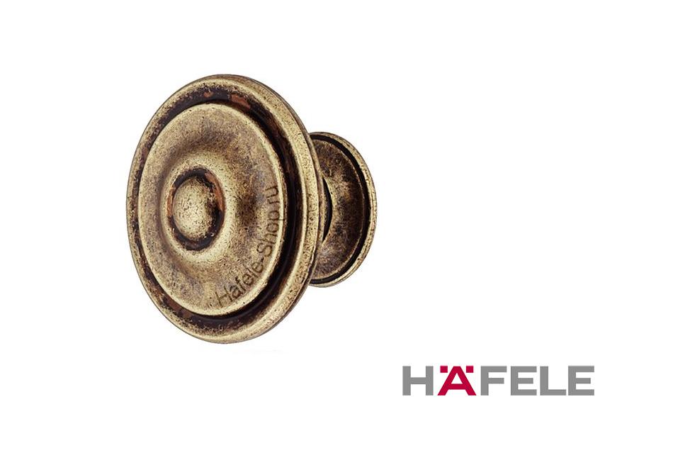 Мебельная ручка кнопка, цинковое литьё, цвет бронза  30 x 23 мм