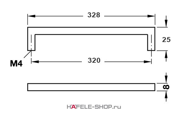 Мебельная ручка скоба нержавеющая сталь матовая  328x25 мм