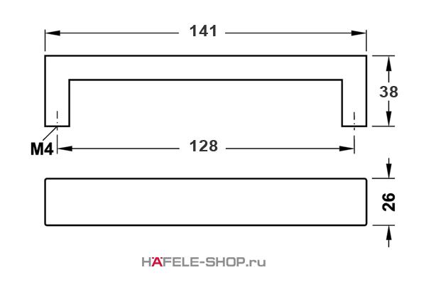 Мебельная ручка скоба нержавеющая сталь матовая   141x38 мм