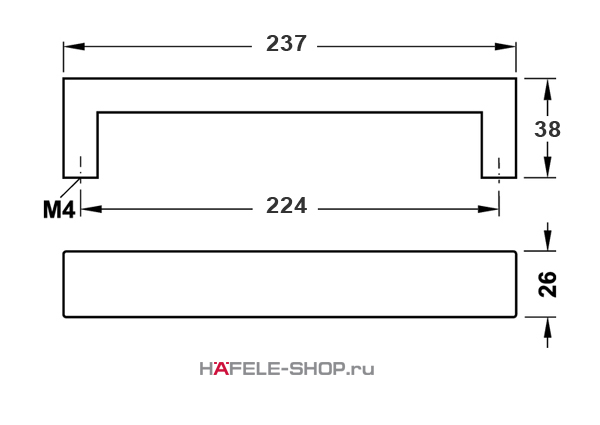 Мебельная ручка скоба нержавеющая сталь матовая    237x38 мм