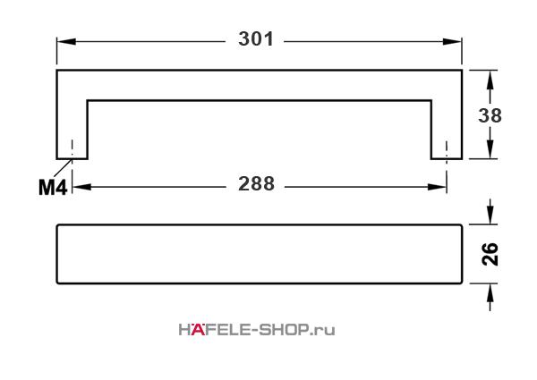 Мебельная ручка скоба нержавеющая сталь матовая    301x38 мм