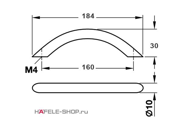 Мебельная ручка скоба цвет хром полированный 184x32 мм