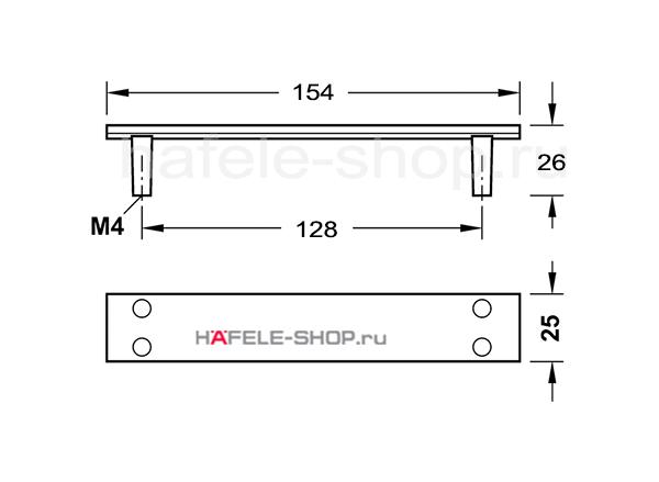 Мебельная ручка, цвет чёрная состаренная, с текстурой, длина 154 мм.