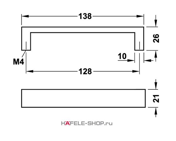 Мебельная ручка  алюминий цвет серебристый 138x26 мм
