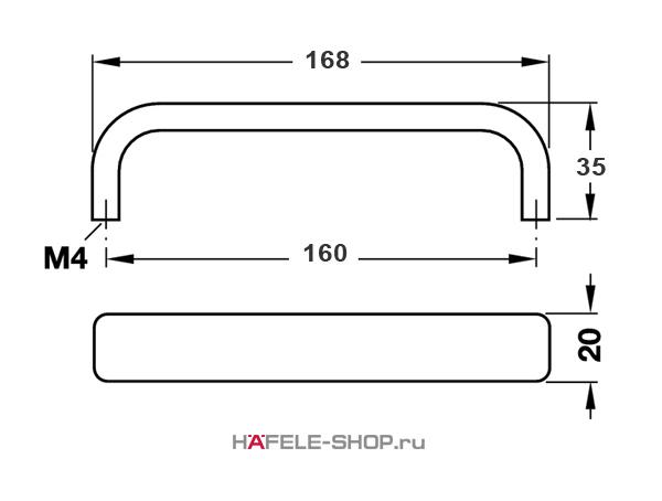 Мебельная ручка  алюминий цвет серебристый 168x35 мм