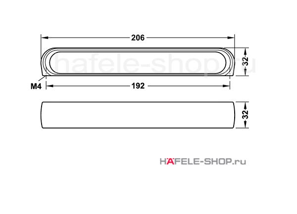 Мебельная ручка, цвет алюминий состаренная, длина 206 мм.