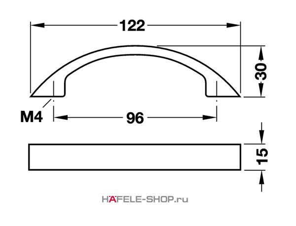 Мебельная ручка  алюминий цвет серебристый 122x30 мм