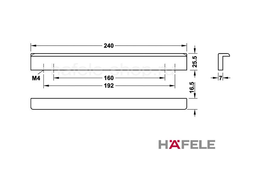 Мебельная ручка с потёртыми углами, красная, длина 240 мм.