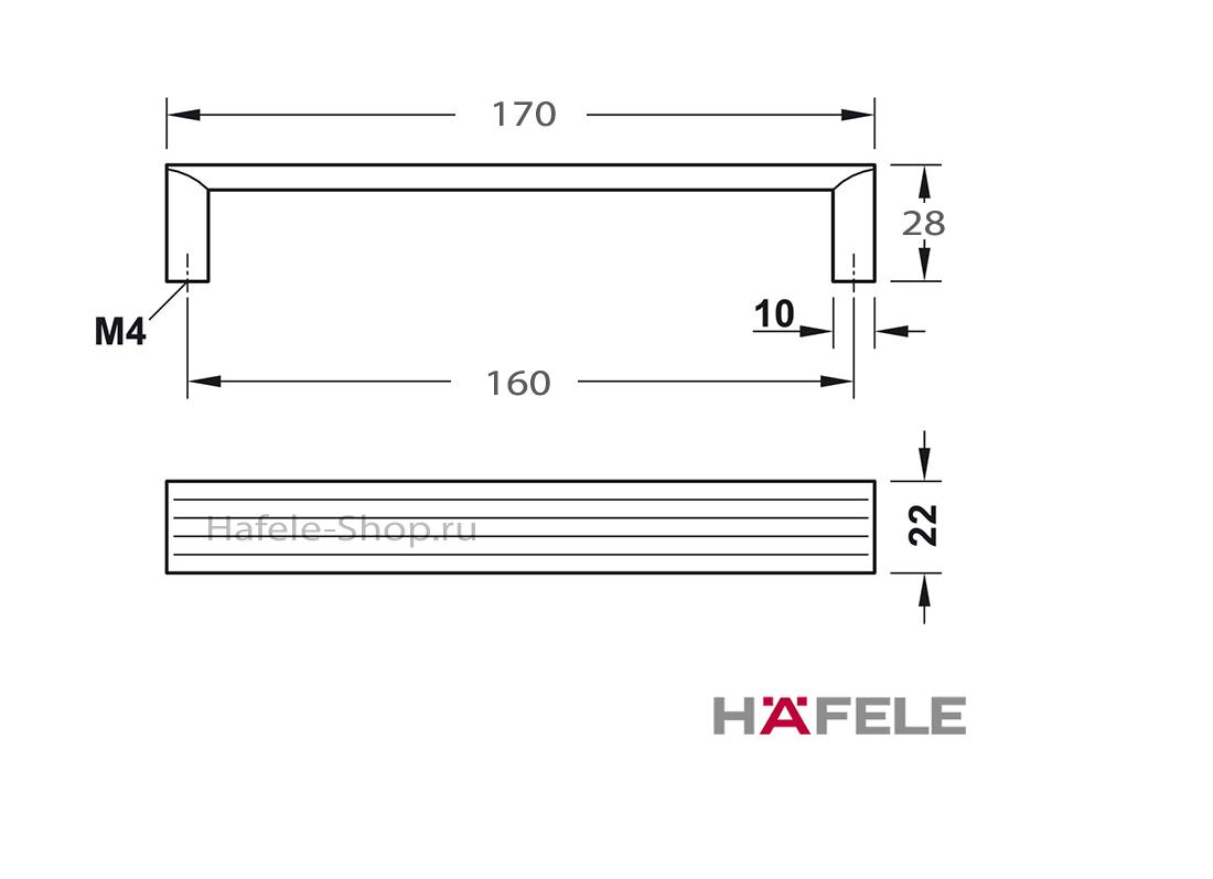Ручка мебельная, алюминий цвет черный, длина 170 мм, между винтами 160 мм