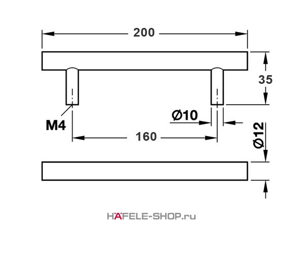Мебельная ручка рейлинг цвет хром матовый  200x35 мм