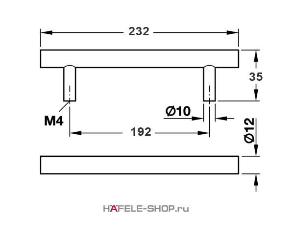 Мебельная ручка рейлинг цвет никель матовый  232x35 мм