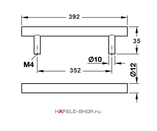 Мебельная ручка рейлинг цвет никель матовый  392x35 мм