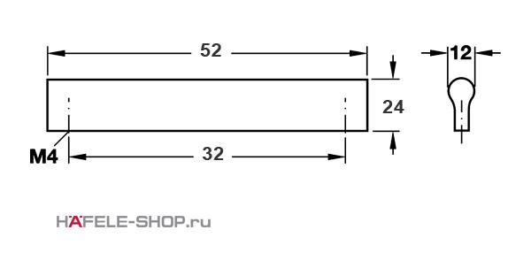 Мебельная ручка планка алюминий матовая  52x24 мм
