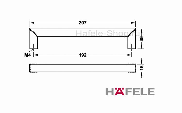 Мебельная ручка винтажная, нержавеющая сталь, 207 х 39 мм