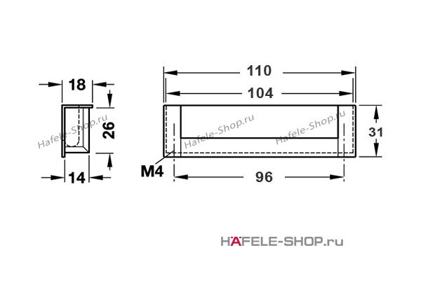 Мебельная ручка врезная алюминий матовая  111 x 31 мм