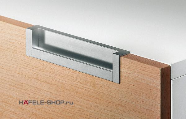 Мебельная ручка врезная алюминий матовая  143 x 31 мм