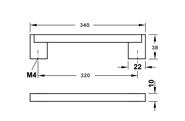 Мебельная ручка нержавеющая сталь матовая 340 x 38 мм