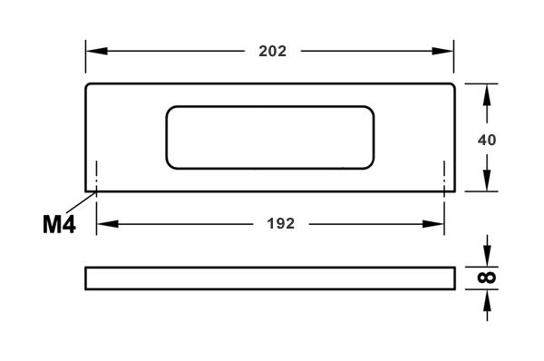 Мебельная ручка цвет нержавеющая сталь 202x40 мм