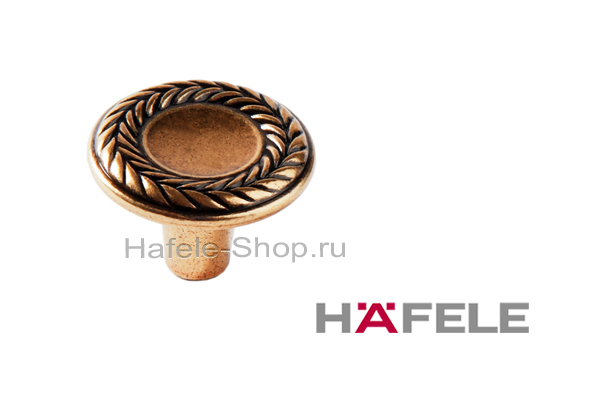 Мебельная ручка кнопка, античная бронза, диаметр 31 мм