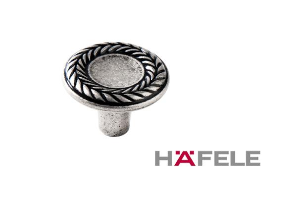 Мебельная ручка кнопка, цвет античное серебро, диаметр 31 мм