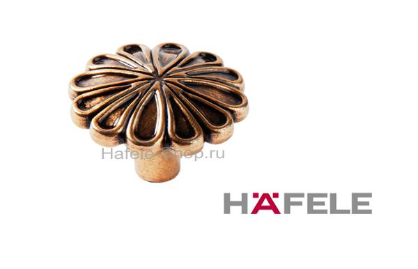 Мебельная ручка кнопка, цвет античное золото, диаметр 35 мм