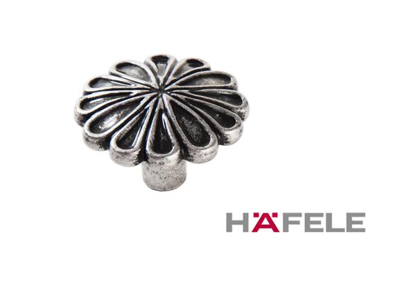 Мебельная ручка кнопка, цвет античное серебро, диаметр 35 мм