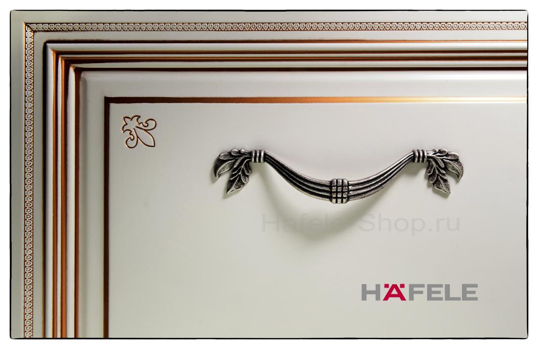 Ручка мебельная, цвет античное серебро, длина 200 мм, между винтами 128 мм