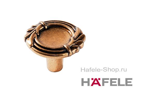 Мебельная ручка кнопка, цвет античное золото, диаметр 33 мм