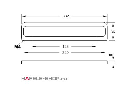 Мебельная ручка цвет нержавеющая сталь  332x36 мм