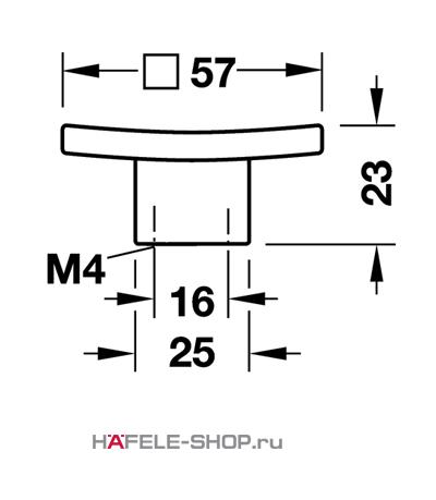 Мебельная ручка цвет хром полированный   57x23 мм