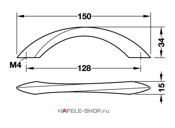 Мебельная ручка цвет хром матовый  150X34 мм