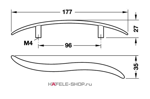 Мебельная ручка цвет никель матовый  177x27 мм
