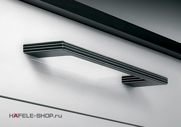 Мебельная ручка  цвет комбинированный черный и алюминий 350x40 мм