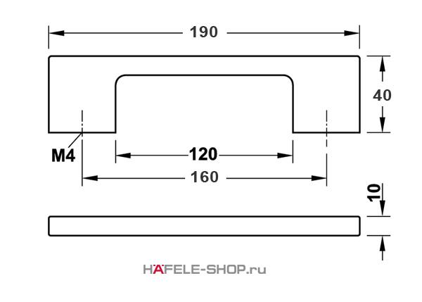 Мебельная ручка  цвет комбинированный и алюминий и черный 190x40 мм