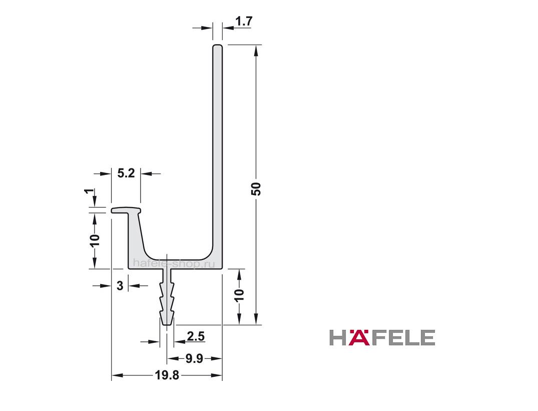 Мебельная ручка профиль, алюминий анодированный (Е6/EV1), цвет нержавеющей стали, длина 2500 мм